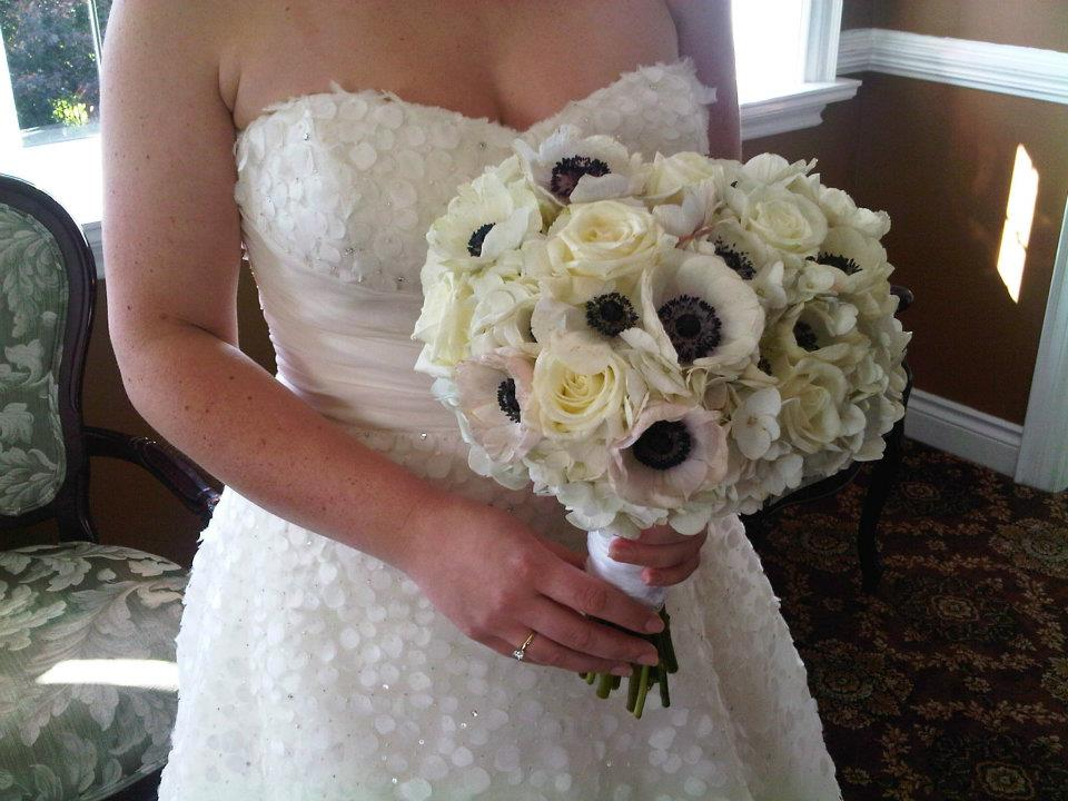 Black and white bridal bouquet with anemones
