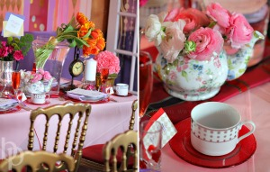 An Alice in Wonderland inspired tablescape uses bright colour and mismatched tea services. Credit: Tangerine Creations