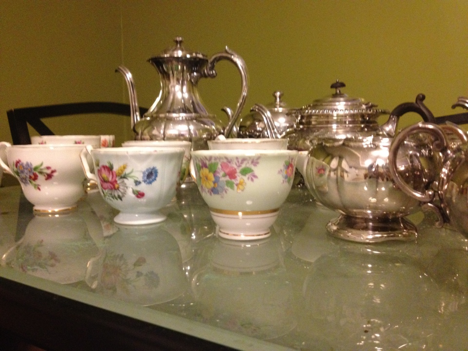 Collection of vintage teacups and teapots