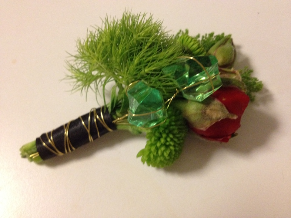 Boutonniere of Dianthis, Button Poms, Anemone Bud & Emerald Crystals