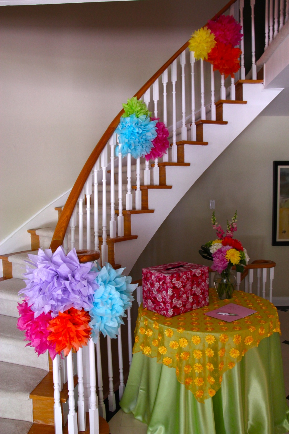 Bright and cheerful paper flowers for decor