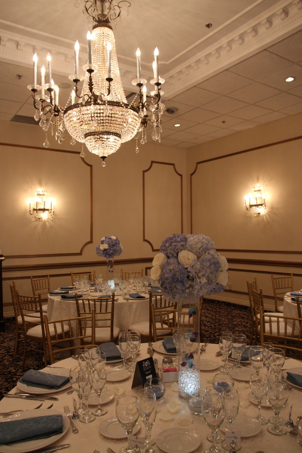 Blue hydrangea and white rose tall centerpieces