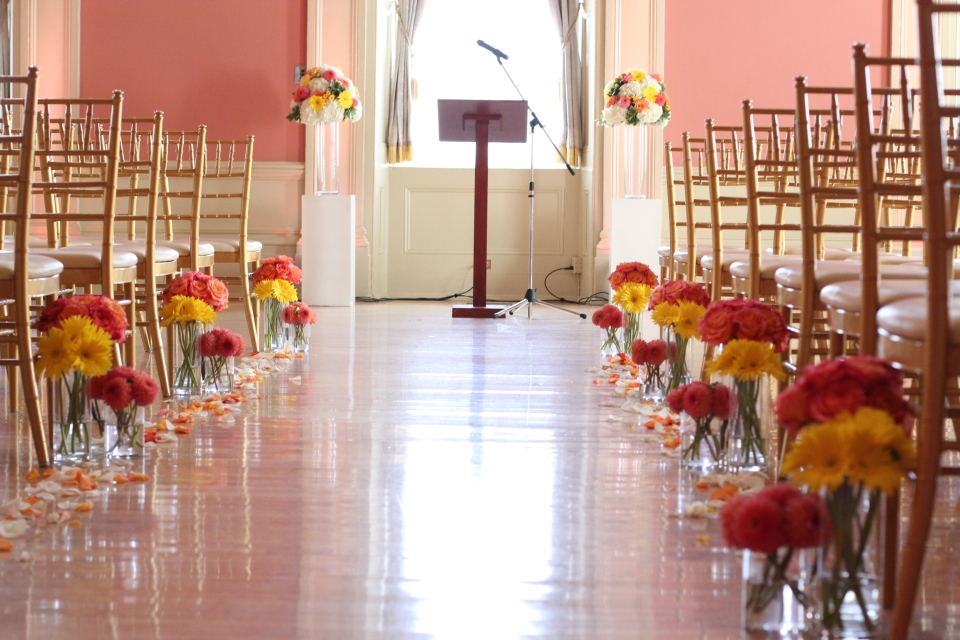 Flower lined aisle at St. Lawrence Hall