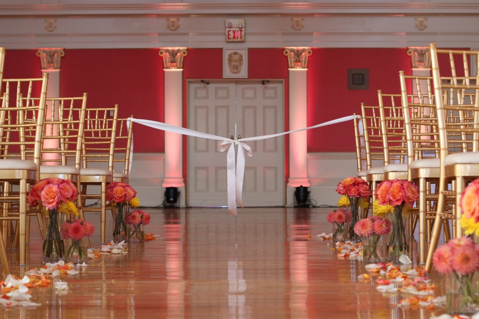 Reverse shot of the aisle showcases the gorgeous room colour!