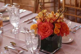 Yellow and coral centerpiece of cabbage roses and mokara orchids