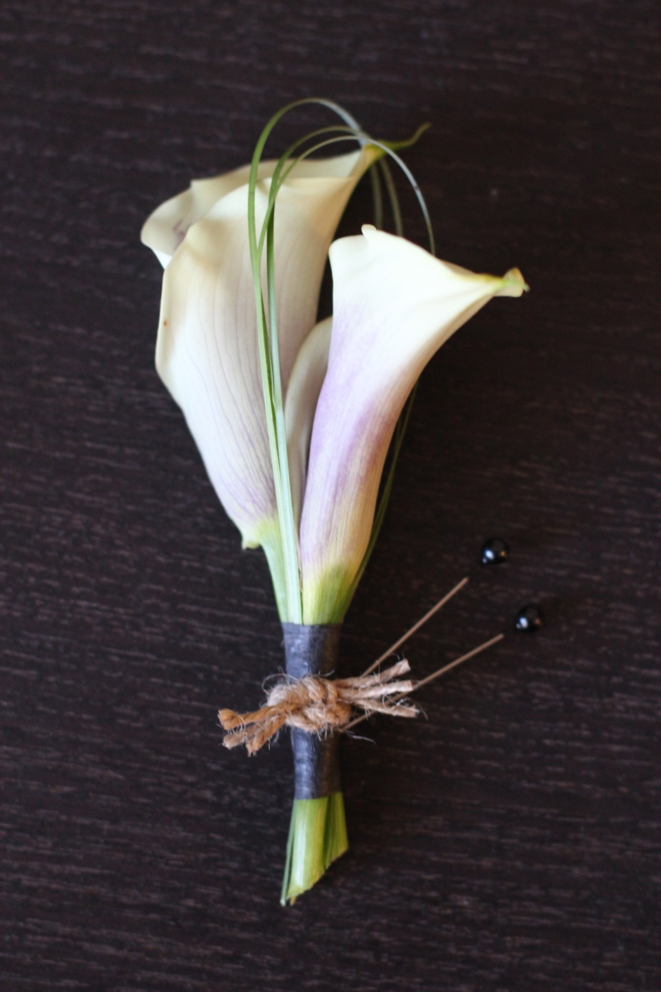 Picasso Calla Lily boutonniere accented with twine
