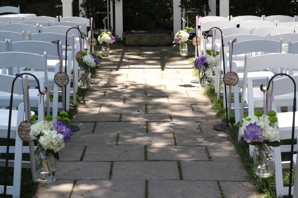 Aisle decor at the Ancaster Mill
