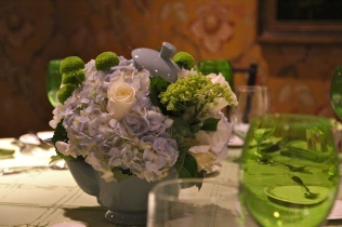 Blue and green baby shower centerpiece