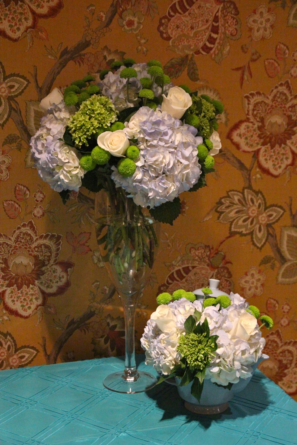 Blue and green baby shower flowers