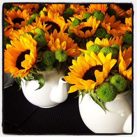 Teapots filled with sunflowers