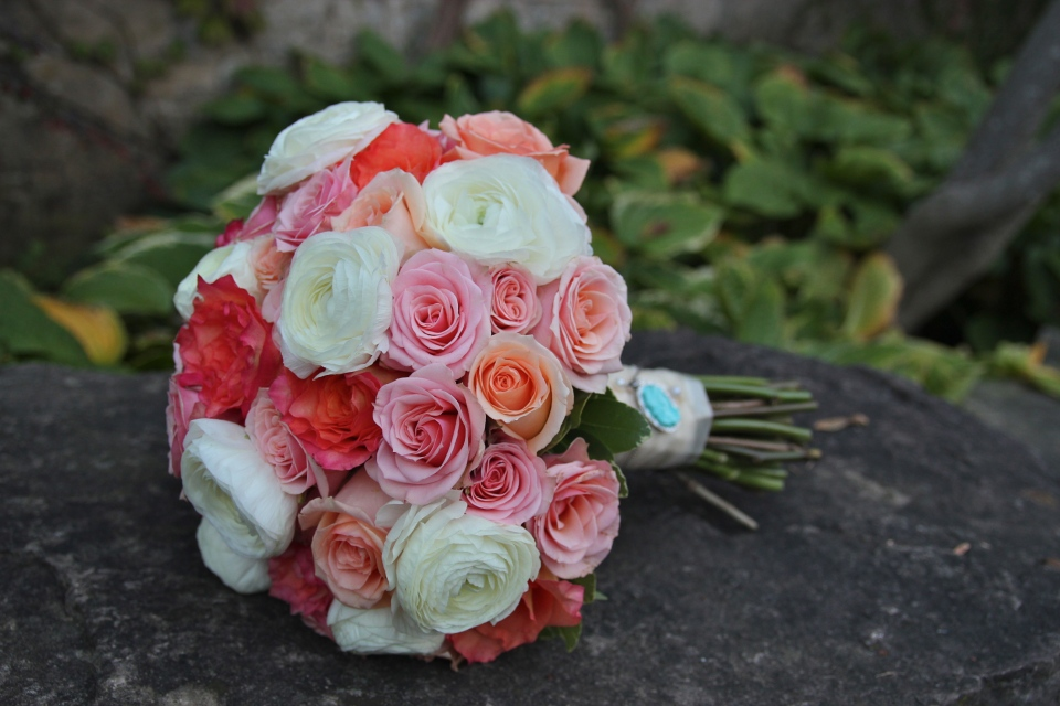 Coral, peach, blush and white bridal bouquet