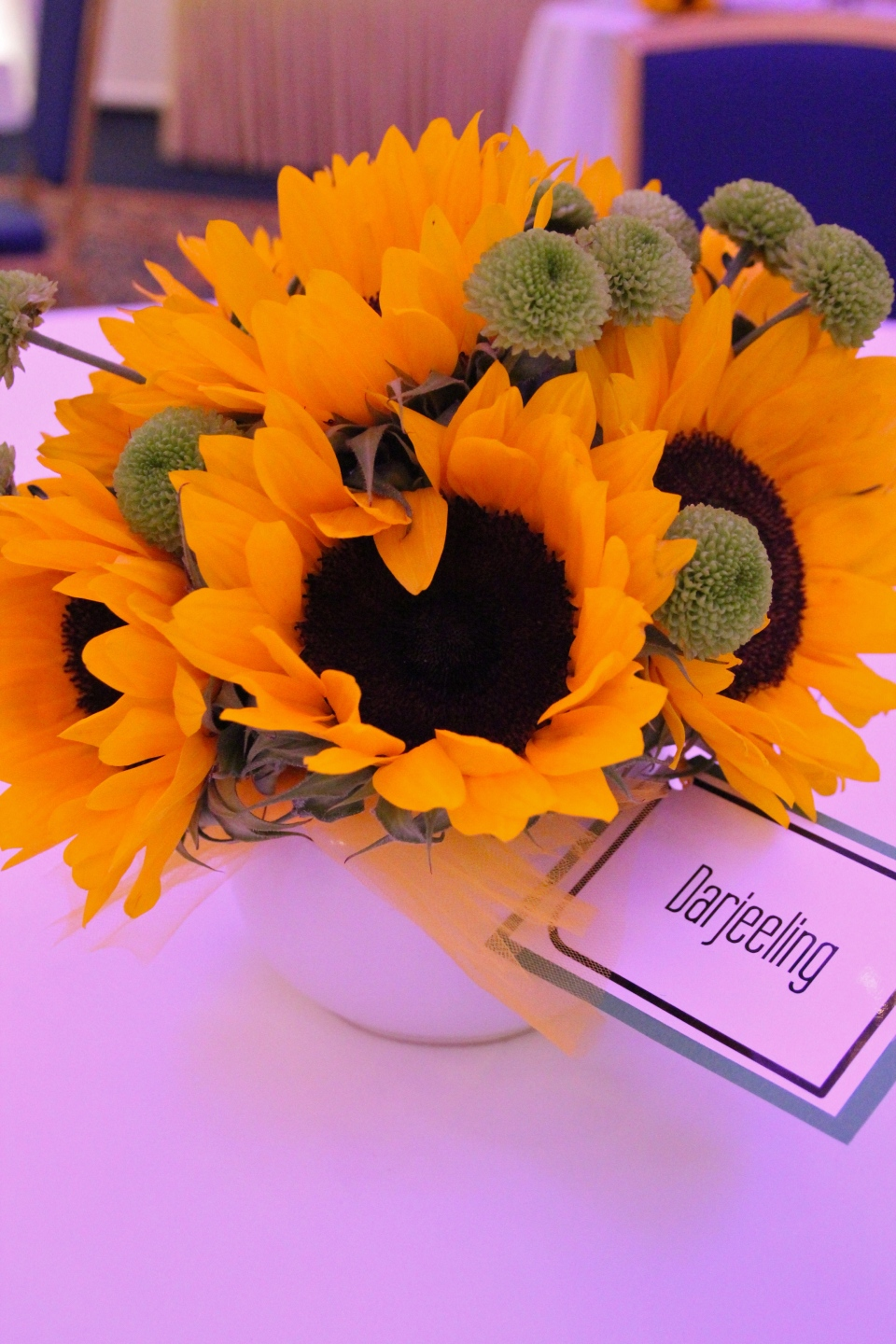 Centerpiece tags were different types of tea instead of a traditional table number