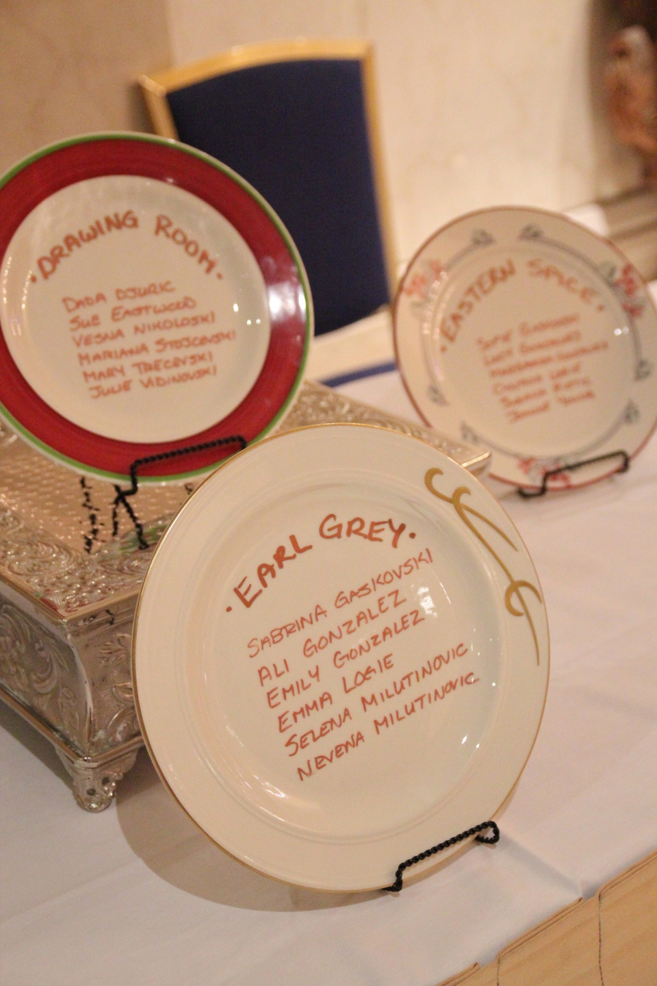 Table settings were listed on ceramic plates