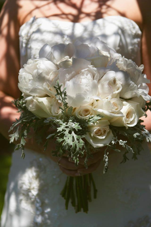 White peonies and dusty miller bridal bouquet