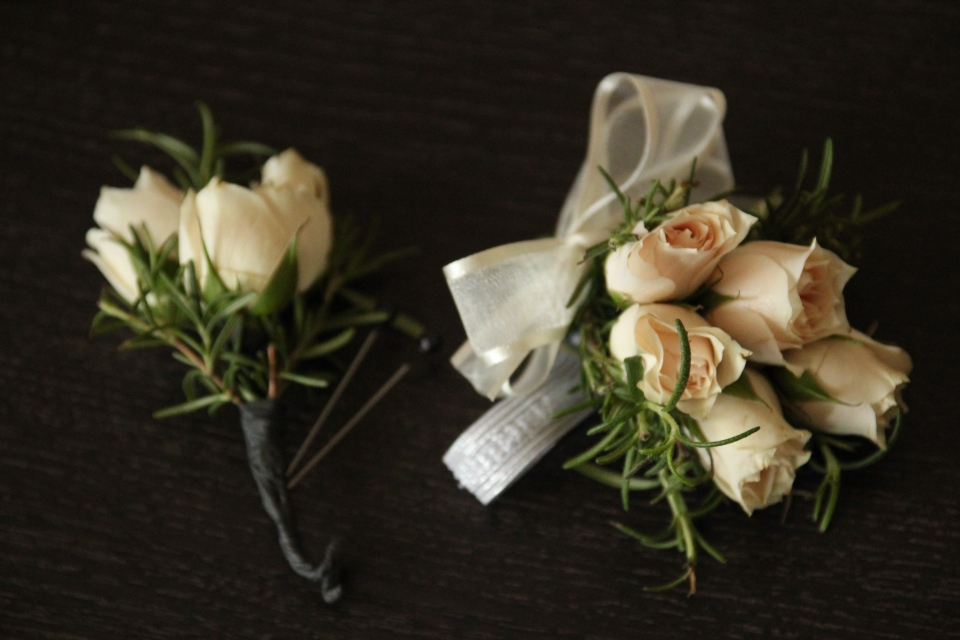 Boutonnieres & corsages of spray roses & rosemary.