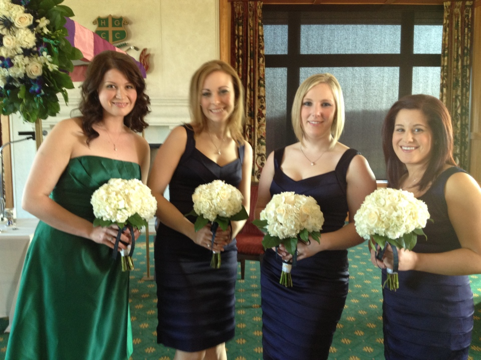 Pretty attendants carried simple hydrangea bouquets