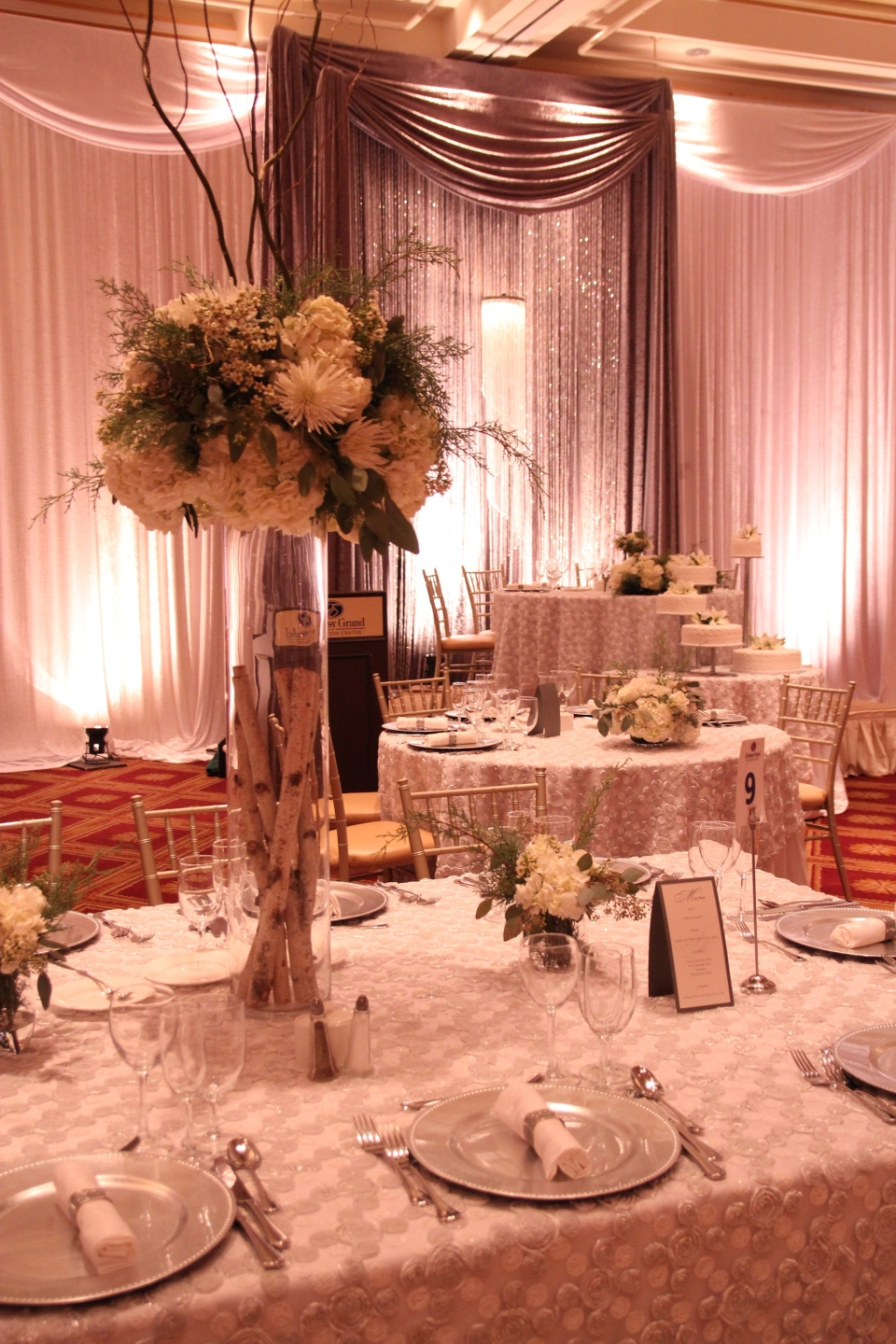 The parents table with the sparkly backdrop.