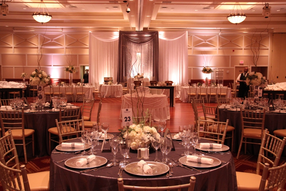 Winter wedding reception set up