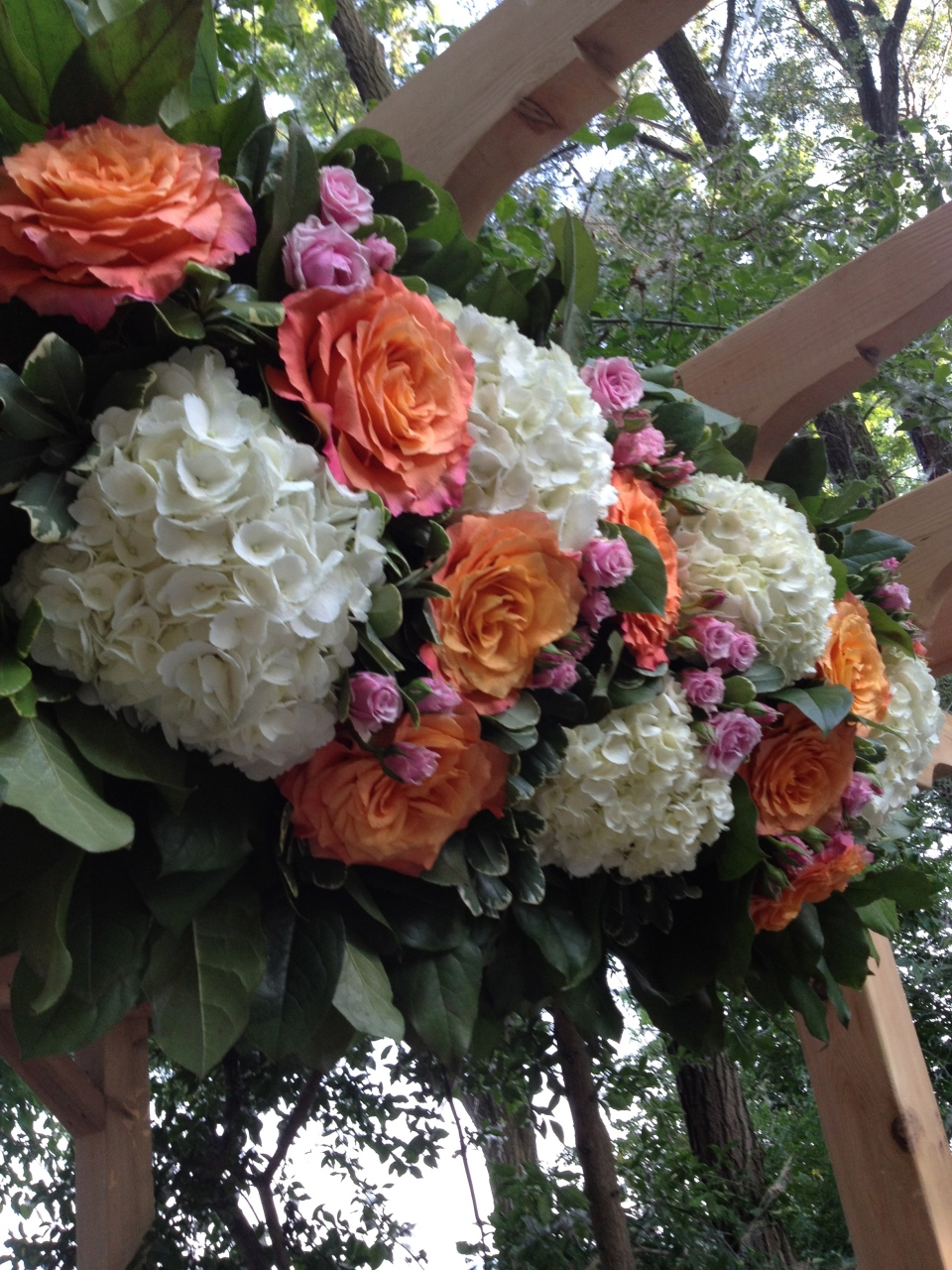 Trellis arrangement of hydrangea, cabbage roses and spray roses in corals and pinks