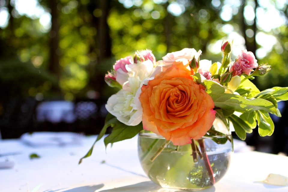 Simple garden inspired centerpieces of cabbage roses, peonies, spray roses and freesia