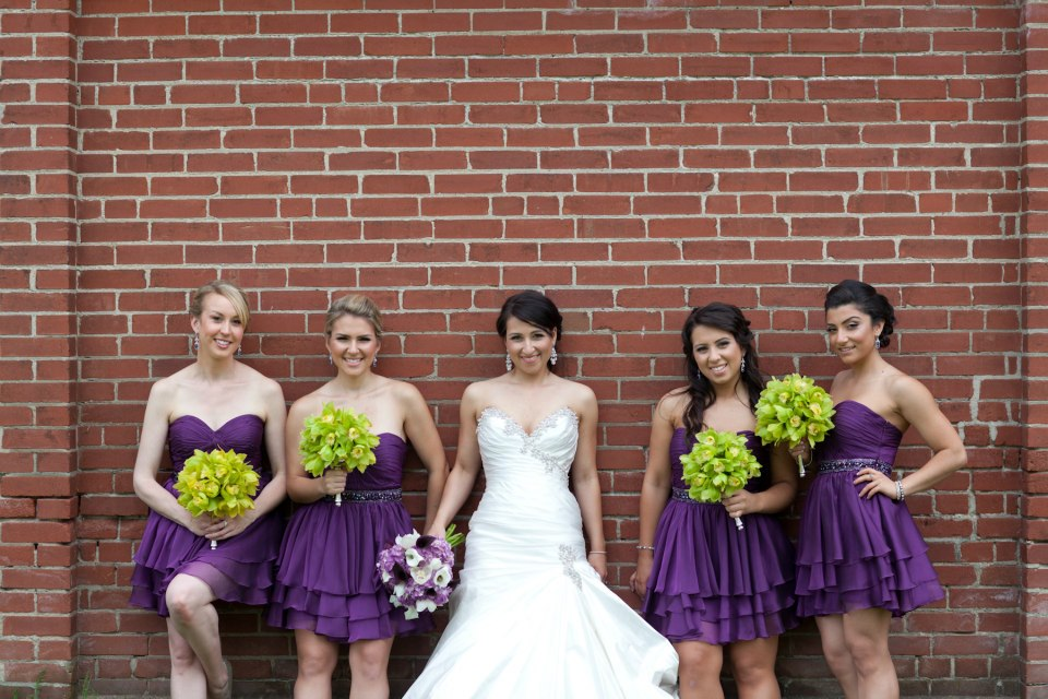 Purple and green bridal party