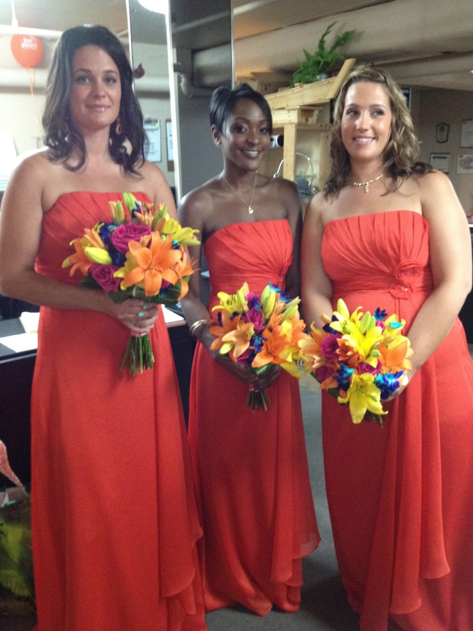 Tropical bridesmaids bouquets