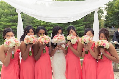 Pink and peach bridal party bouquets