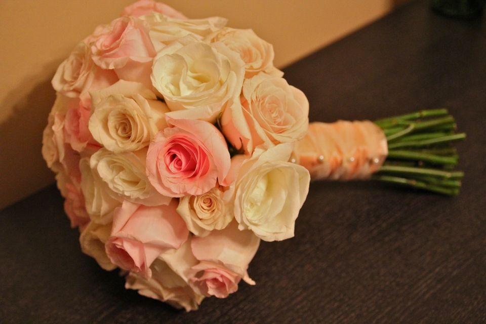 Blush, ivory and champagne rose bouquet