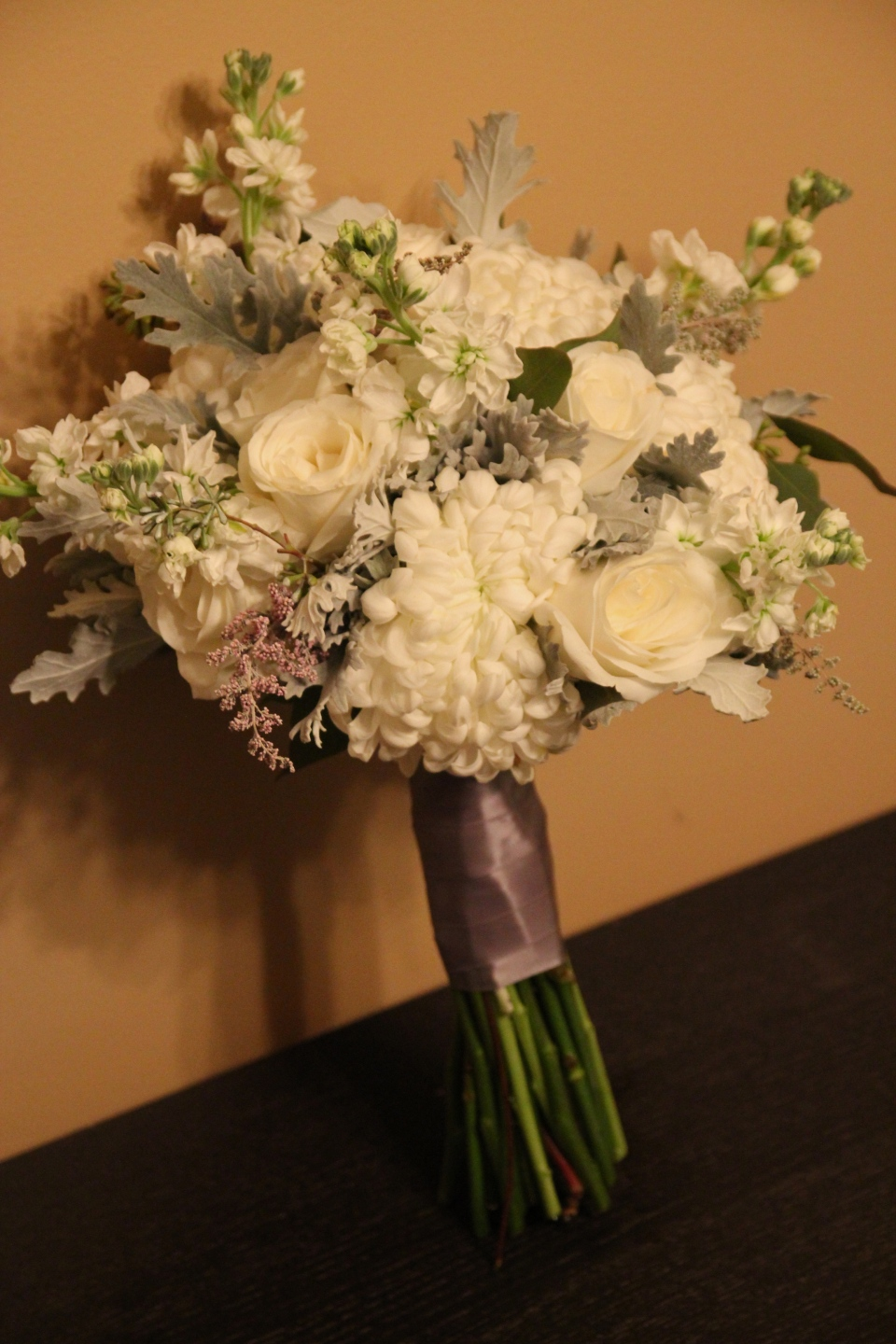 Winter wonderful bouquet of mums, roses, stock, dusty miller & seeded eucalyptus