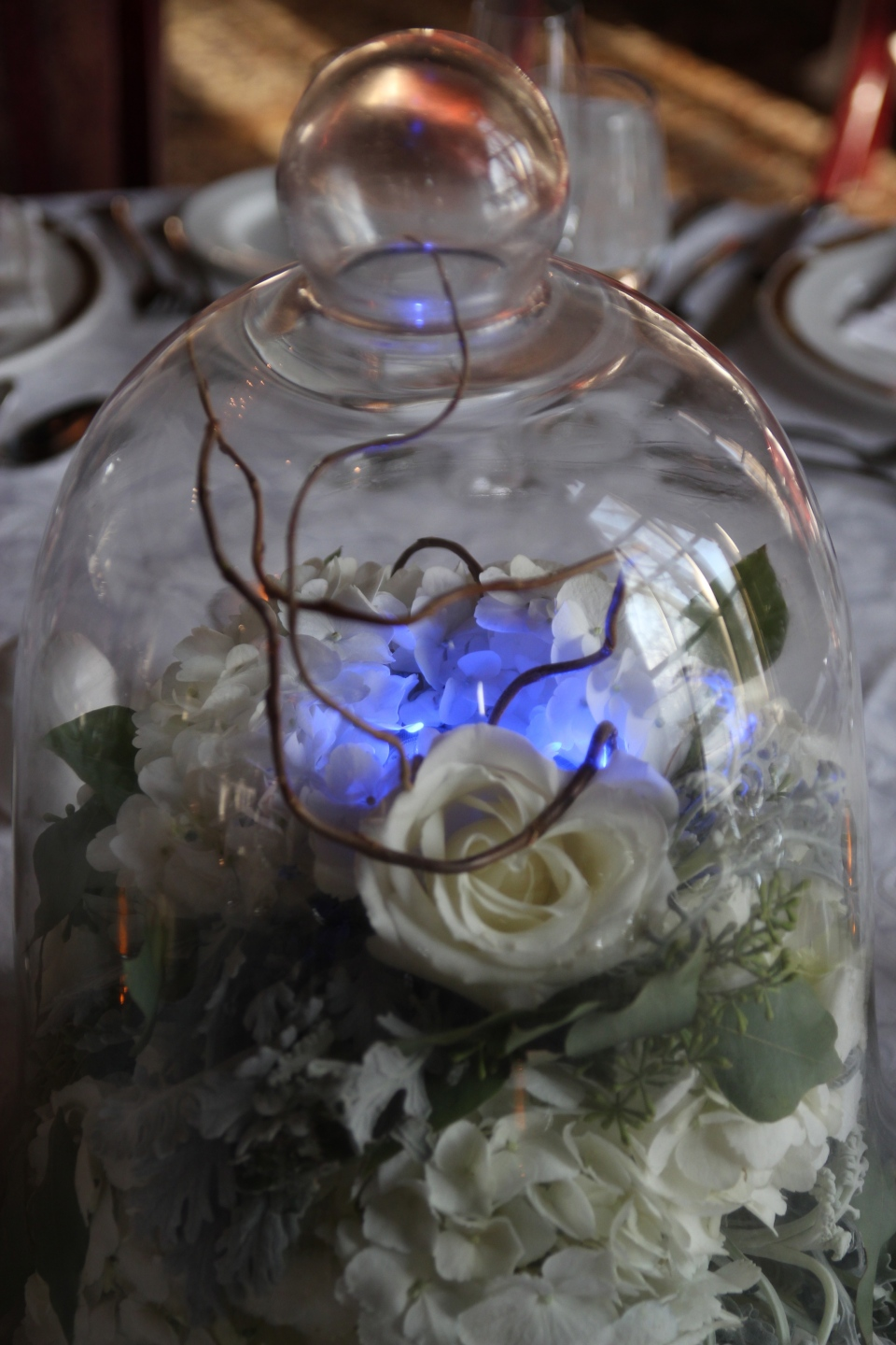 Cloche centerpiece with winter florals