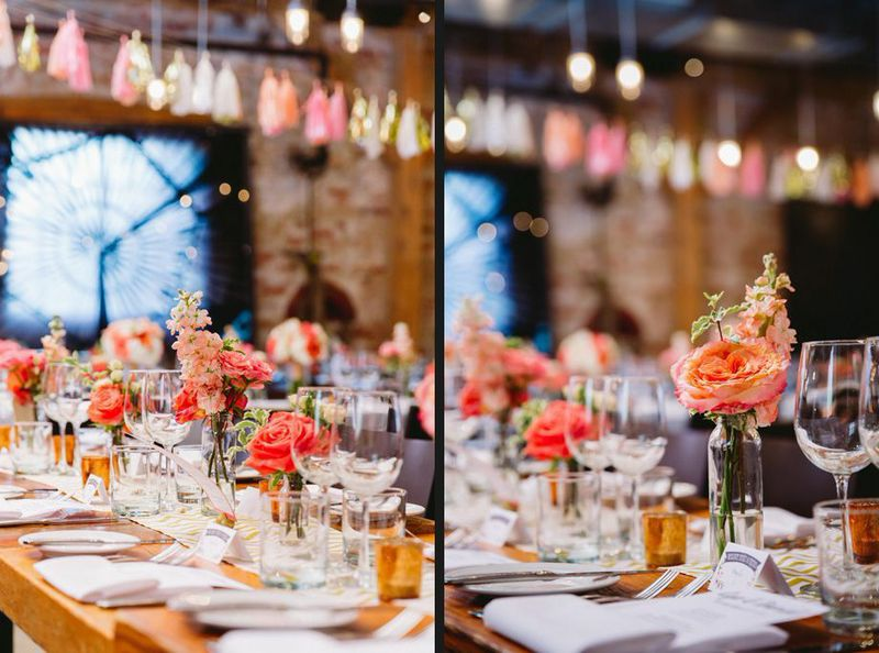 Coral, Peach & Gold Reception Flowers - Archeo