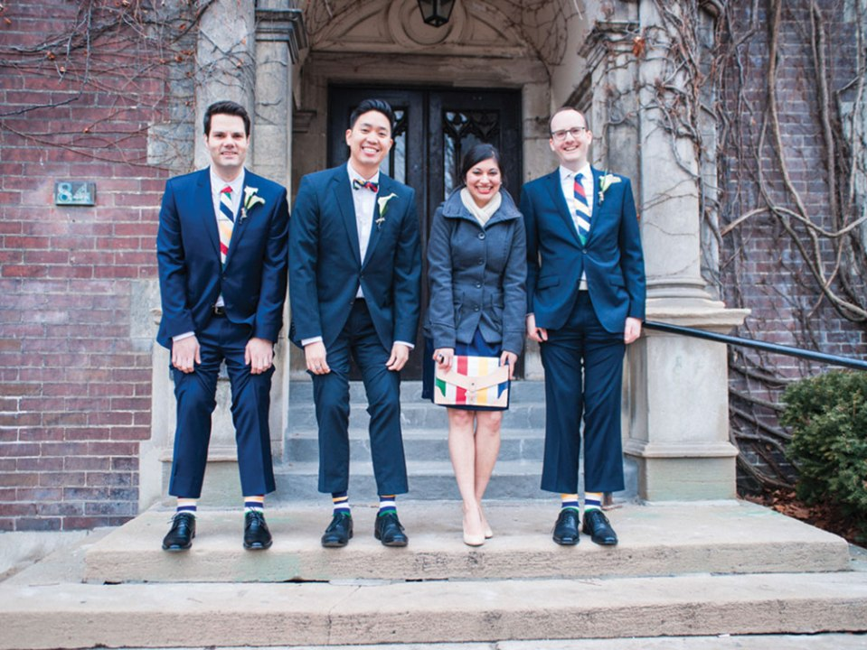 Hudson's Bay Stripe Bridal Party Attire