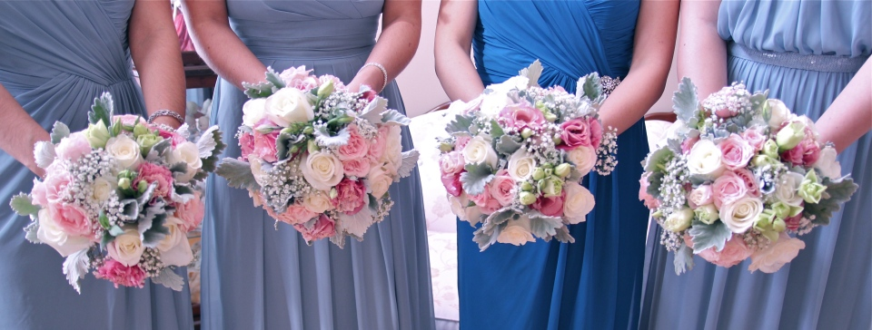 Blush, cream and grey vintage bouquets