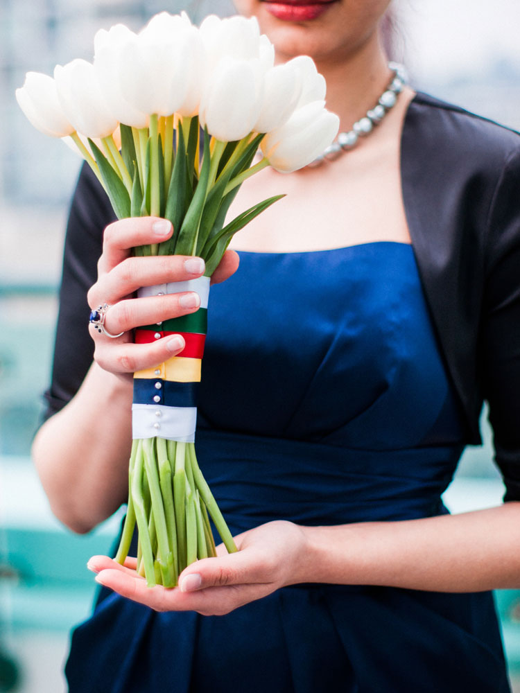White Tulip Bouquet with Hudson's Bay Stripes