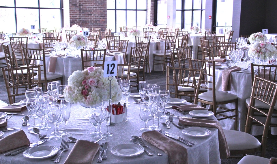 Reception set up at The Manor with Blush and White centerpieces