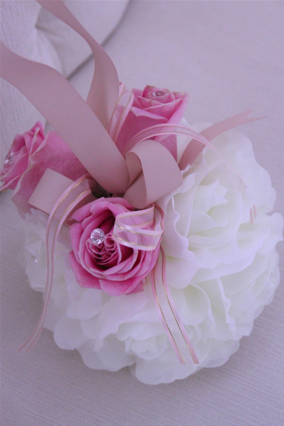 Flower girl pomander with pink roses