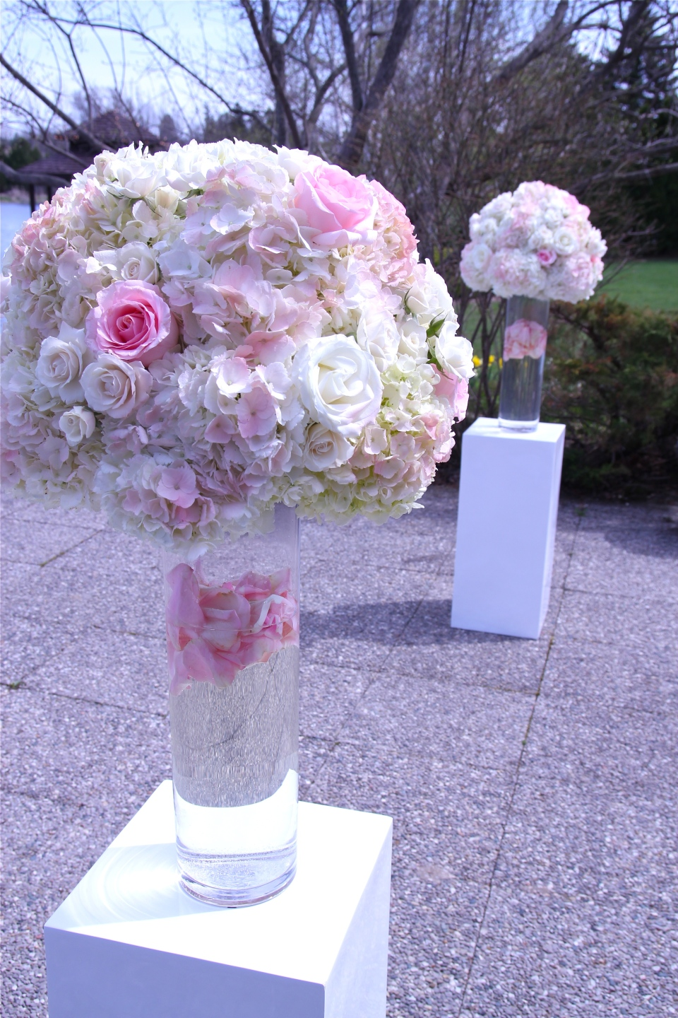 Pink and white hydrangea and rose altar pieces