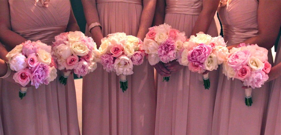 Pink bouquets with peonies