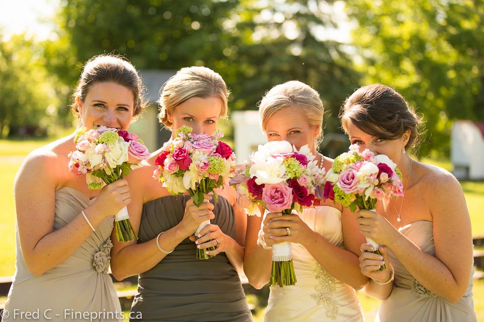 Pink and Green Bouquets