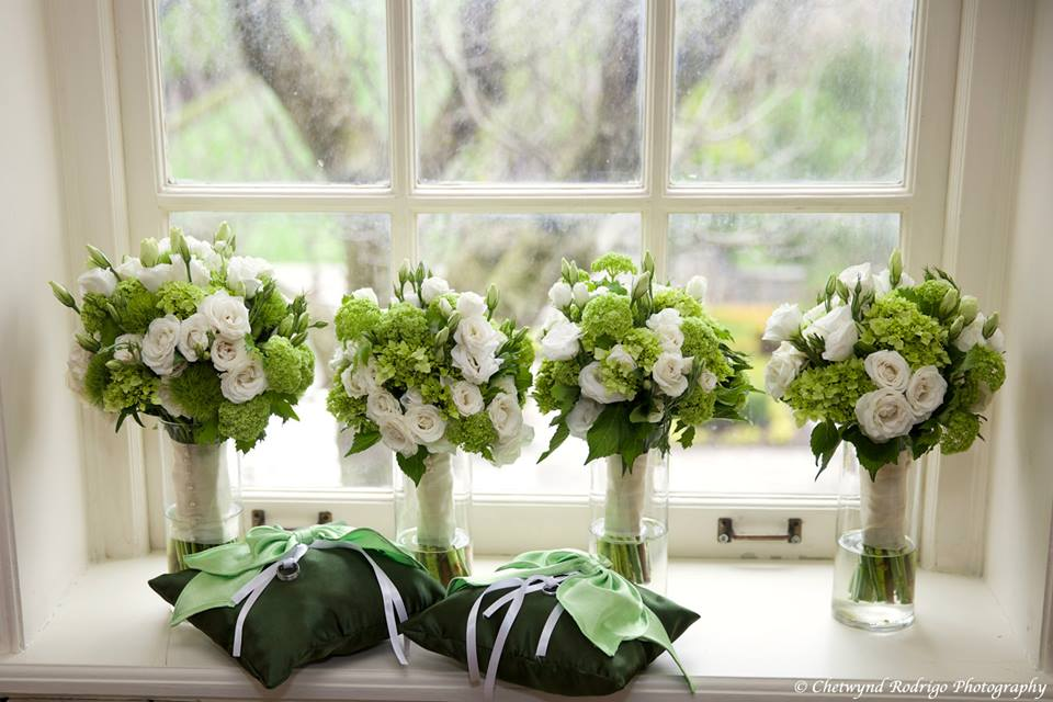 Green and White Bouquets at Graydon Hall