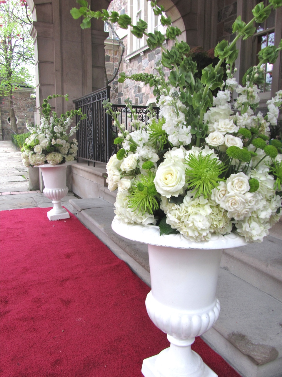Green and White Entrance Flowers