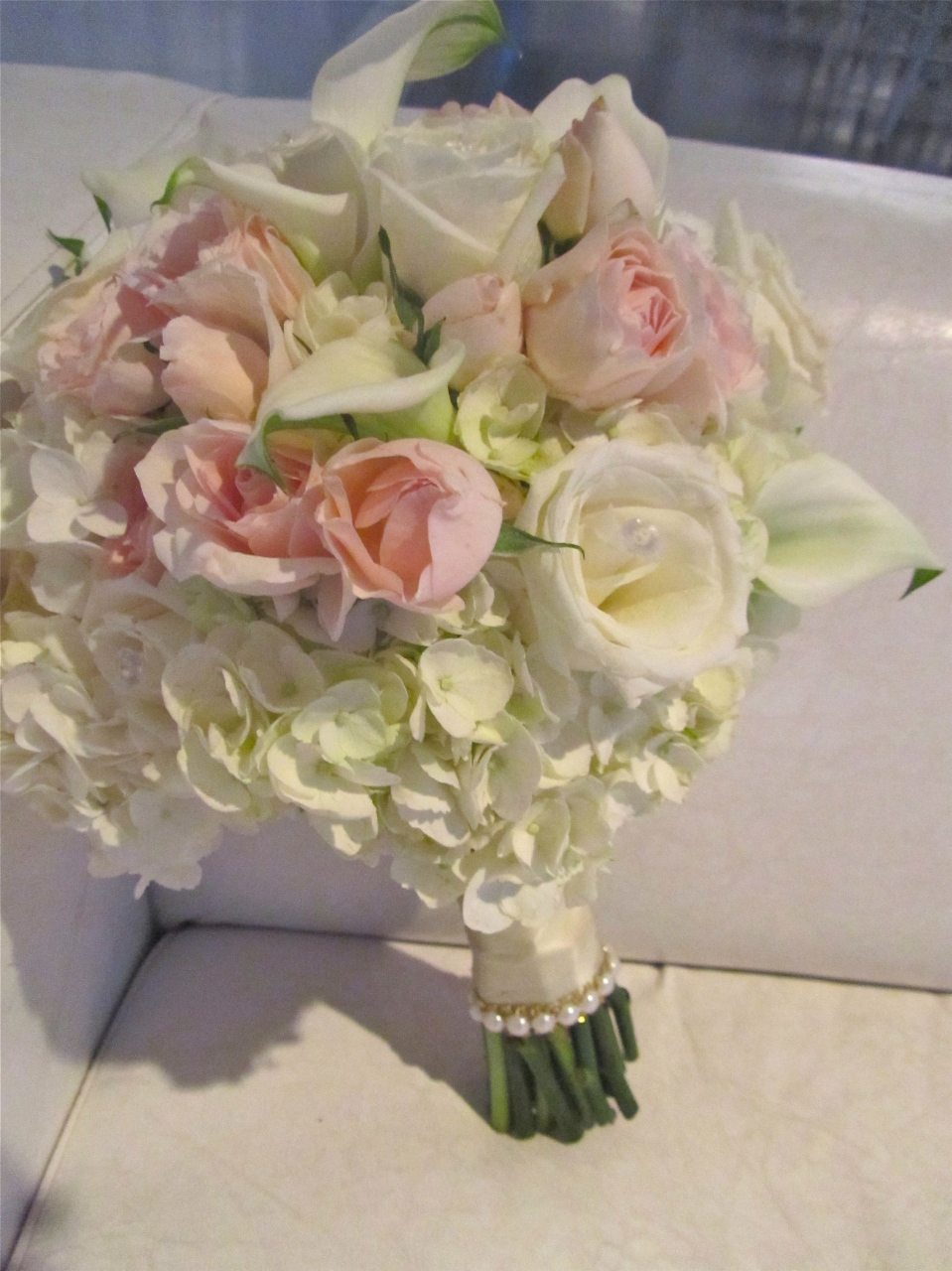 Blush and White Bouquet of Roses, Calla Lilies and Hydrangea