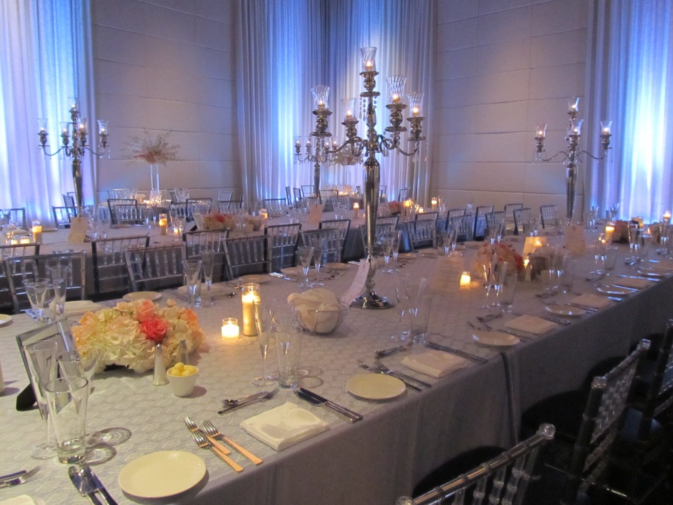 Reception gallery tables at the Grand Luxe
