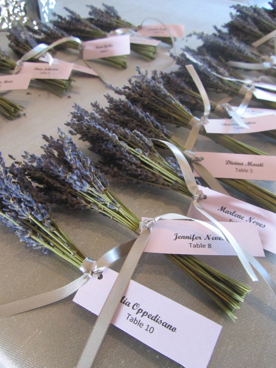 Dried lavender place cards