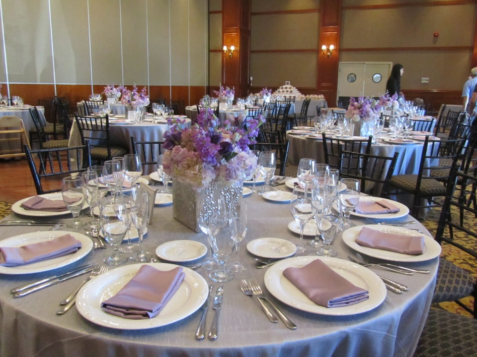 Lavender and Silver Bridal Shower Setup