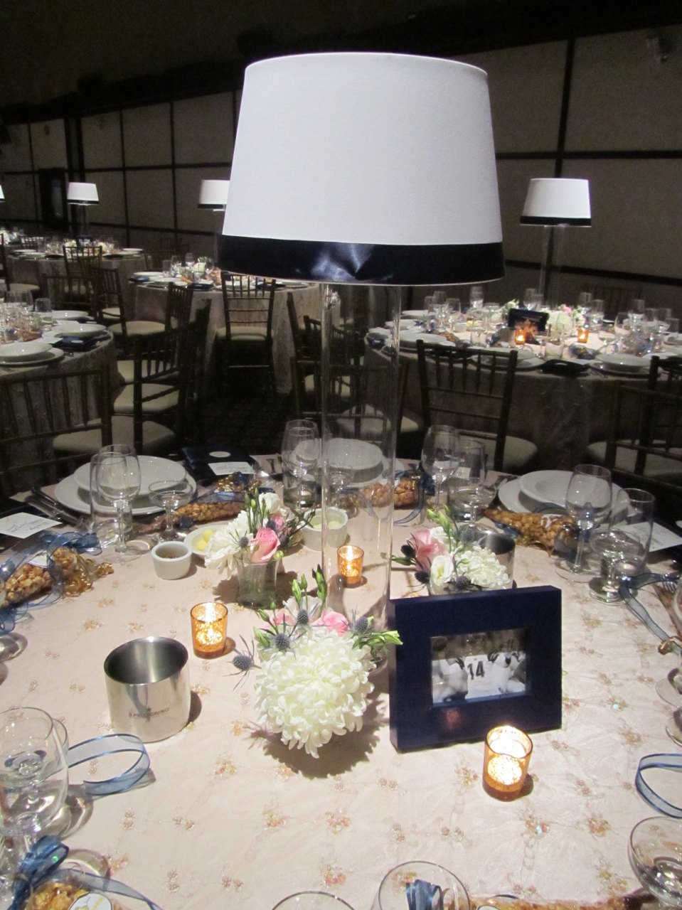 Lampshade centerpieces with bud vases