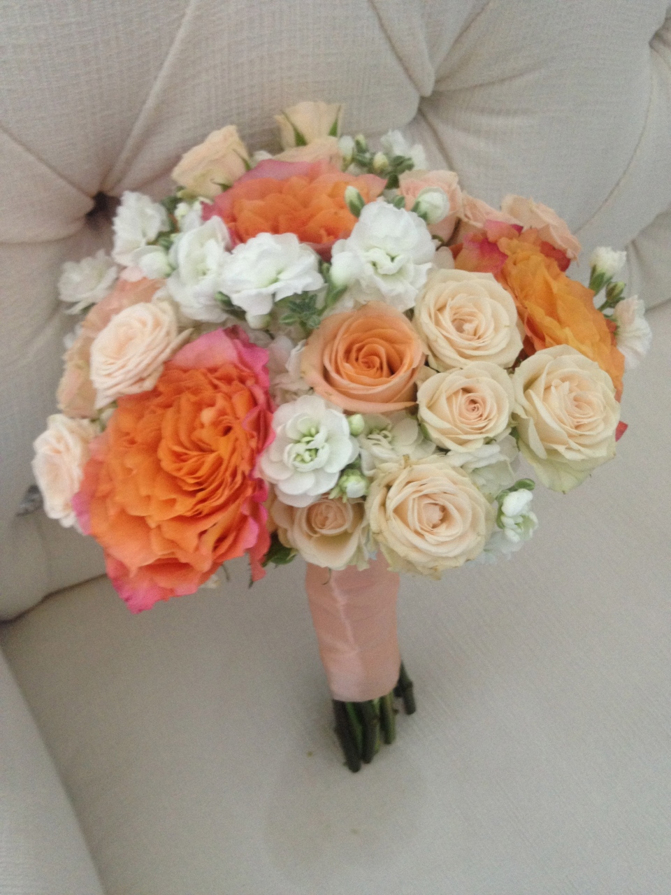Coral, Peach and Ivory Bouquets of Cabbage Roses, Spray Roses and Stock Flower