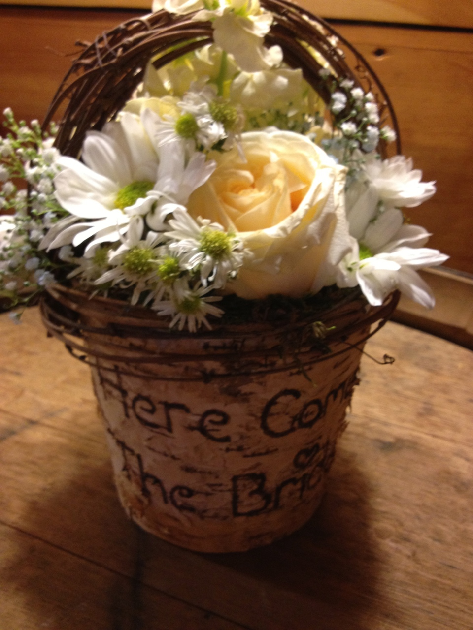 Birch flower girl basket of wildflowers