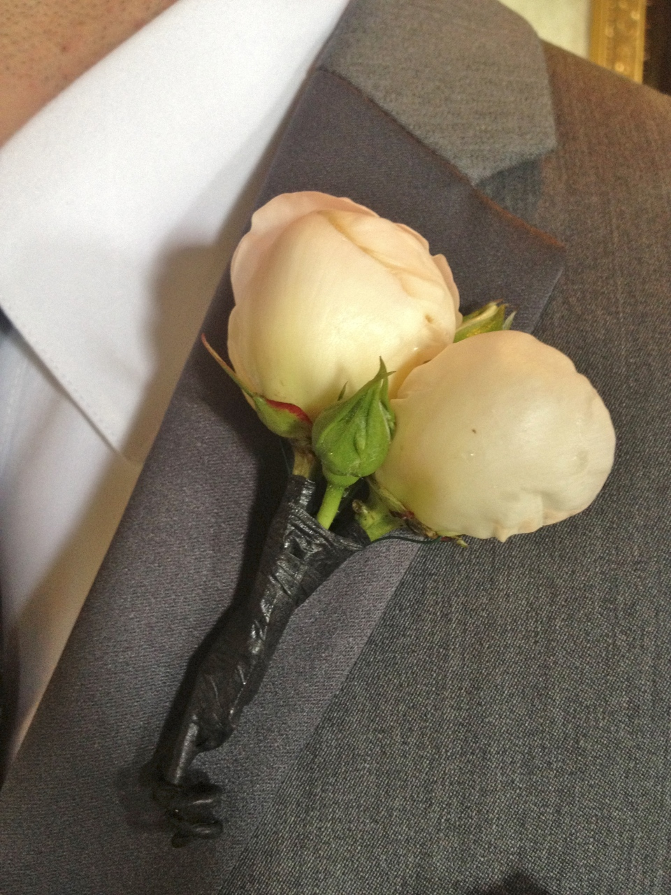Groom's boutonniere of white peony buds