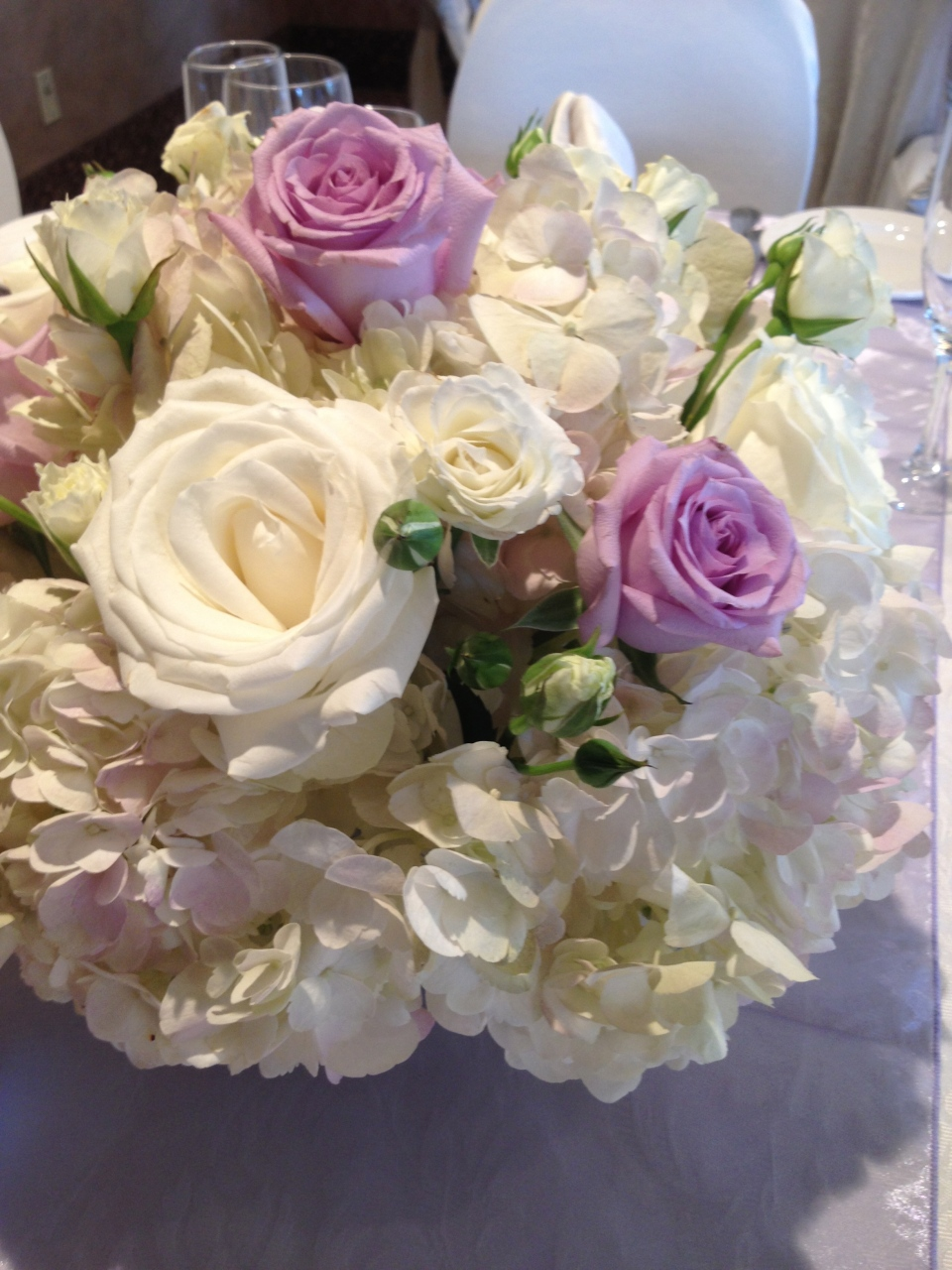 Lavender Roses and Hydrangea centerpiece